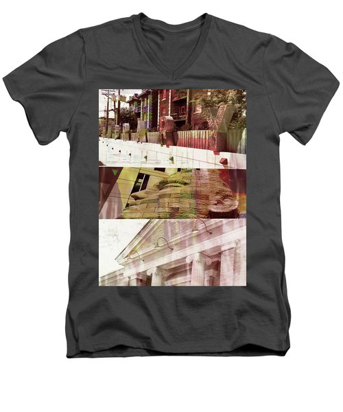 Men's V-Neck T-Shirt featuring the photograph Uptown Library With Color by Susan Stone