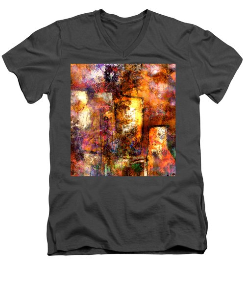 Men's V-Neck T-Shirt featuring the mixed media Urban #4 by Kim Gauge