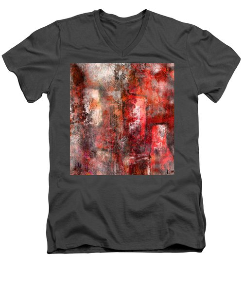 Men's V-Neck T-Shirt featuring the mixed media Urban #5 by Kim Gauge