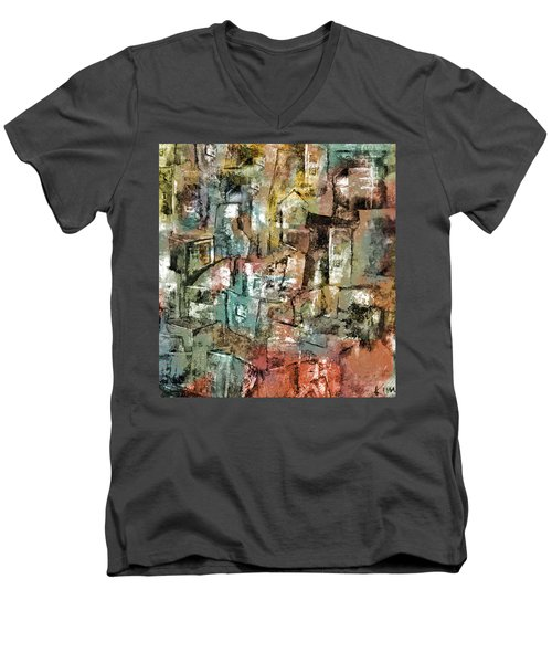 Men's V-Neck T-Shirt featuring the mixed media Urban #6 by Kim Gauge