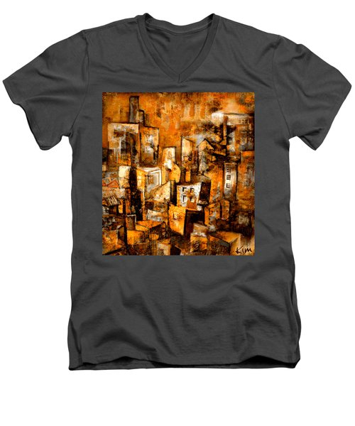 Men's V-Neck T-Shirt featuring the mixed media Urban Abstract #1 by Kim Gauge