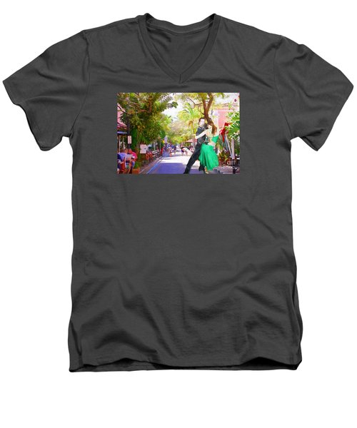 Men's V-Neck T-Shirt featuring the painting Urban Dancers  by Judy Kay