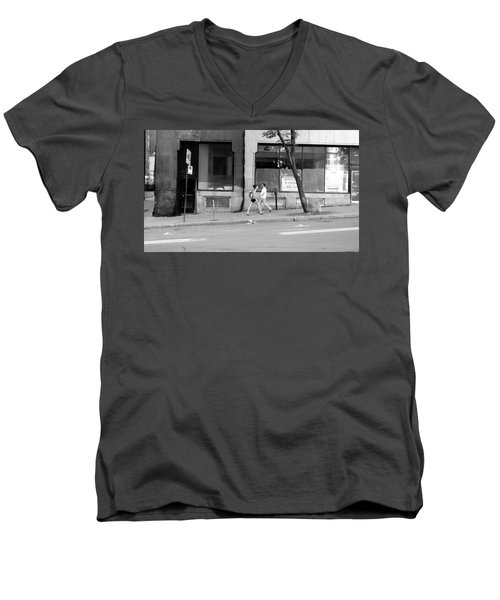 Men's V-Neck T-Shirt featuring the photograph Urban Encounter by Valentino Visentini