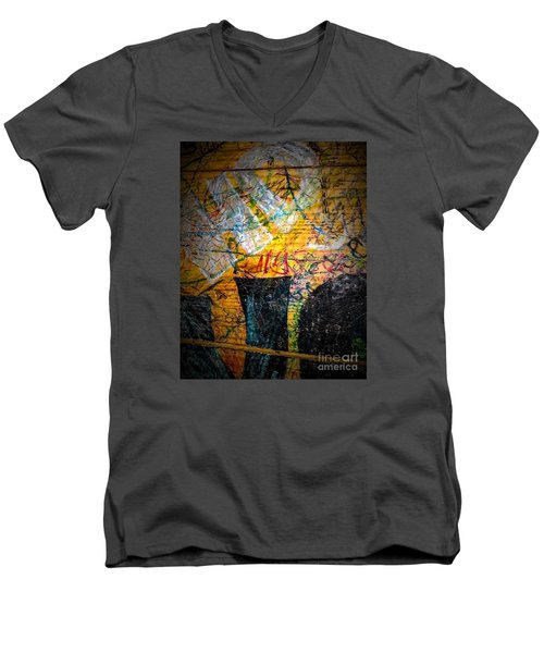 Urban Grunge Three Men's V-Neck T-Shirt by Ken Frischkorn