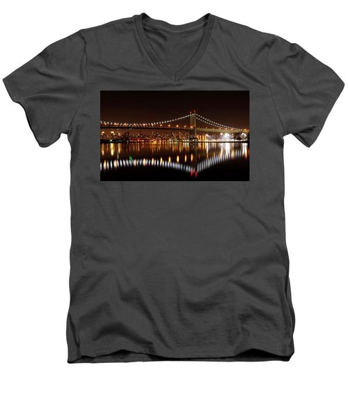 Triboro Bridge Brilliance Men's V-Neck T-Shirt