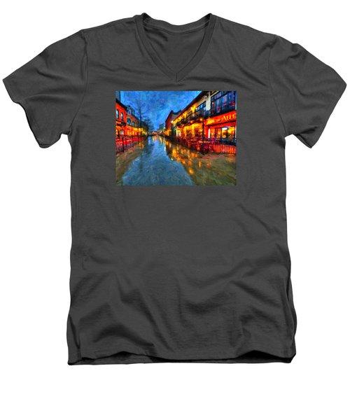 Urban Rain Reflections Men's V-Neck T-Shirt by Andre Faubert