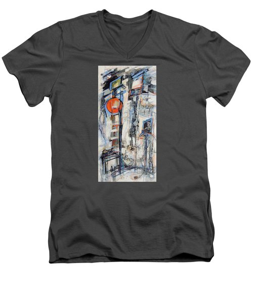 Men's V-Neck T-Shirt featuring the painting Urban Street 1 by Mary Schiros