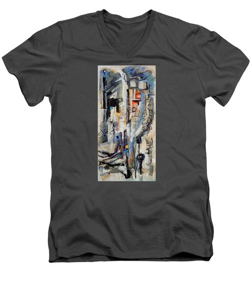 Men's V-Neck T-Shirt featuring the painting Urban Street 2 by Mary Schiros