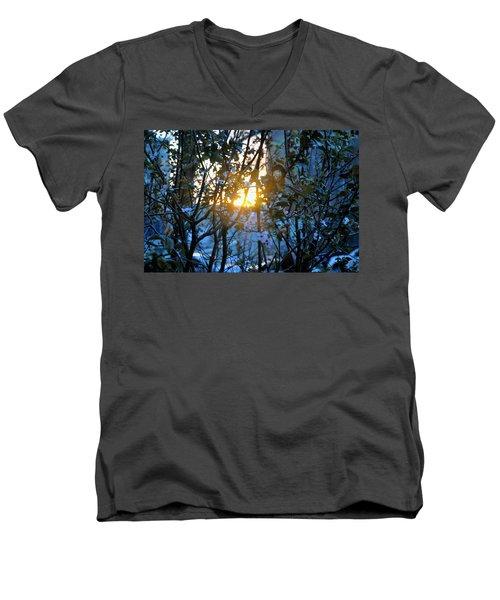 Men's V-Neck T-Shirt featuring the photograph Urban Sunset by Sarah McKoy