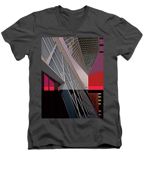 Men's V-Neck T-Shirt featuring the digital art Urban Sunset by Walter Fahmy