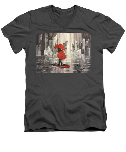 Urban Walk In The Rain Men's V-Neck T-Shirt by Lucia Grilletto