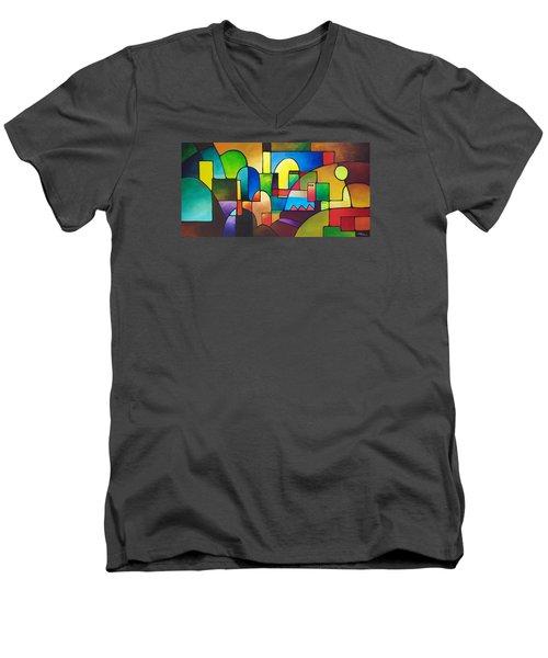 Urbanity 2 Men's V-Neck T-Shirt by Sally Trace