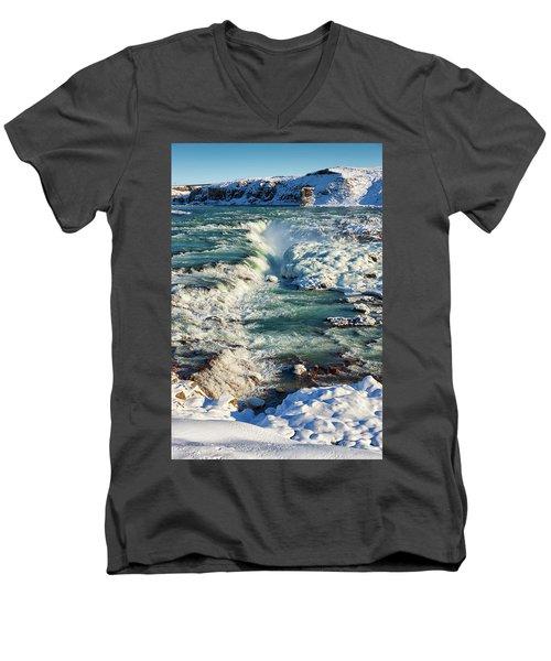 Men's V-Neck T-Shirt featuring the photograph Urridafoss Waterfall Iceland by Matthias Hauser