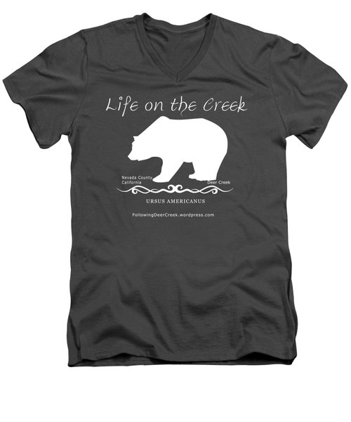 Ursus Americanus - White Text Men's V-Neck T-Shirt