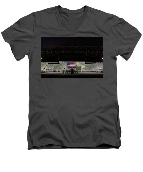 Us Air Force Eq 4 Global Hawk Assigned To The 380th Air Expeditionary Wing Await Routine Maintenance Men's V-Neck T-Shirt