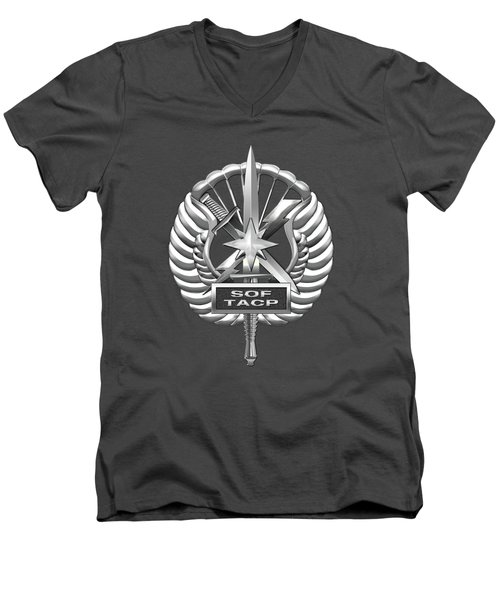 Men's V-Neck T-Shirt featuring the digital art U.s. Air Force Tactical Air Control Party - Special Tactics Tacp Crest Over Blue Velvet by Serge Averbukh