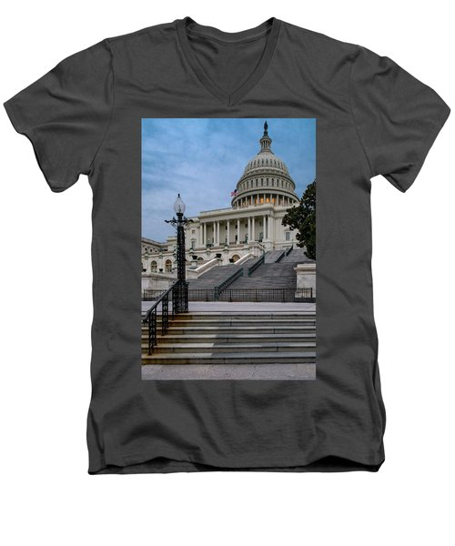 Men's V-Neck T-Shirt featuring the photograph Us Capitol Building Twilight by Susan Candelario