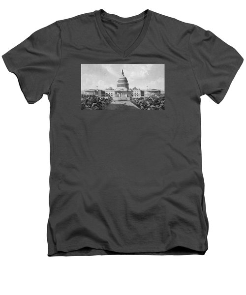 Us Capitol Building Men's V-Neck T-Shirt by War Is Hell Store