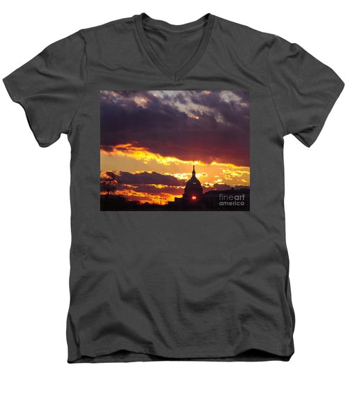 U.s. Capitol Dome At Sunset Men's V-Neck T-Shirt