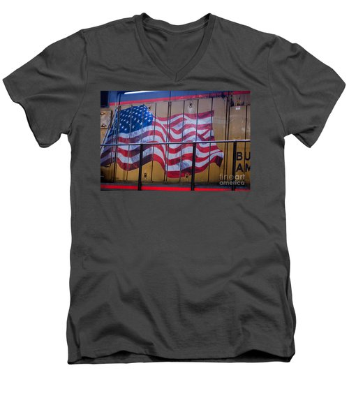 Us Flag On Side Of Freight Engine Men's V-Neck T-Shirt
