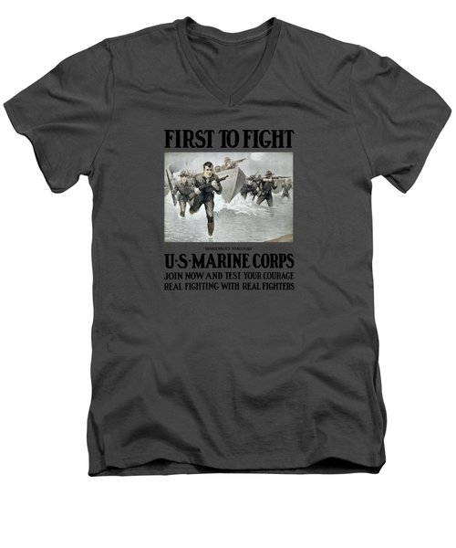 Us Marine Corps - First To Fight  Men's V-Neck T-Shirt by War Is Hell Store