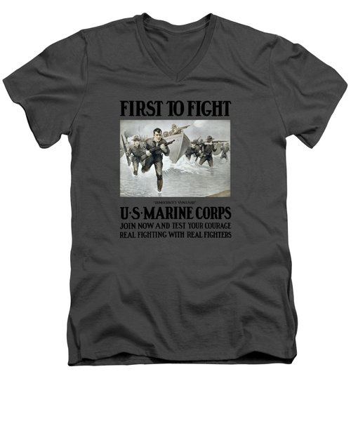 Us Marine Corps - First To Fight  Men's V-Neck T-Shirt