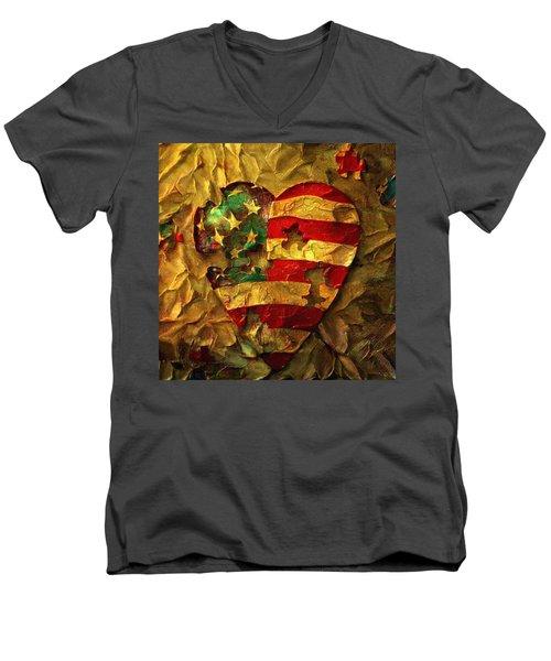 Usa Heart Men's V-Neck T-Shirt
