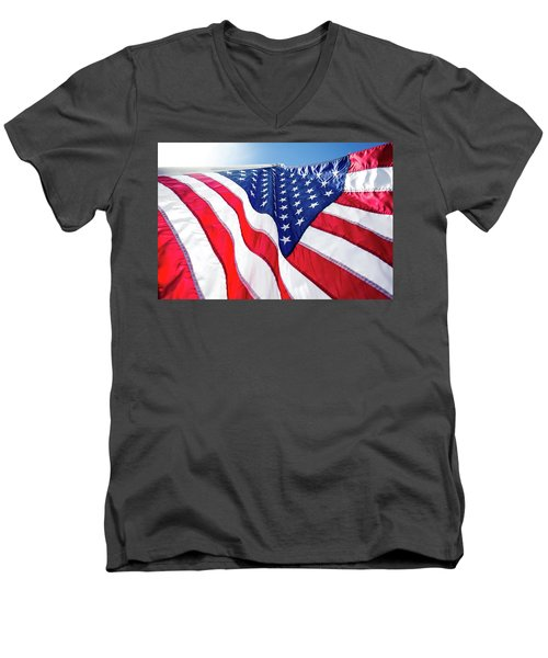 Men's V-Neck T-Shirt featuring the photograph Usa,american Flag,rhe Symbolic Of Liberty,freedom,patriotic,hono by Jingjits Photography