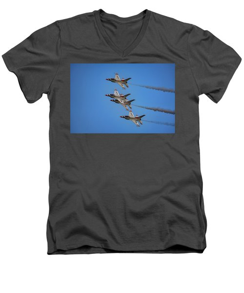 Men's V-Neck T-Shirt featuring the photograph Usaf Thunderbirds by Rick Berk