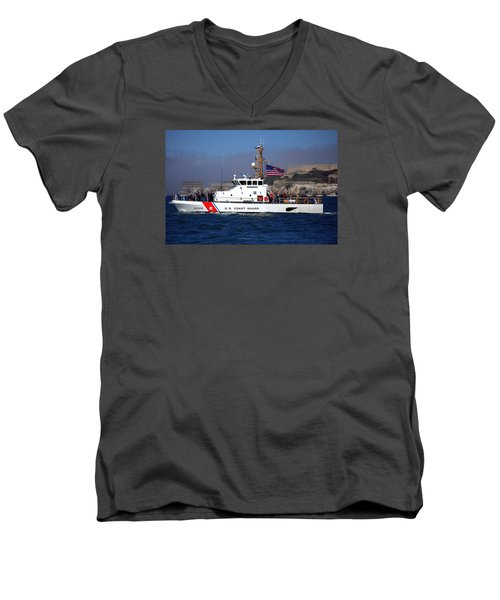 Uscg Hawksbill Patrols San Francisco Bay During Fleet Week Men's V-Neck T-Shirt