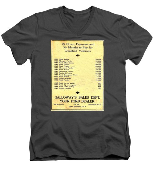 Men's V-Neck T-Shirt featuring the photograph Used Car Prices In 1950 - Dealer's Advertisement by Merton Allen