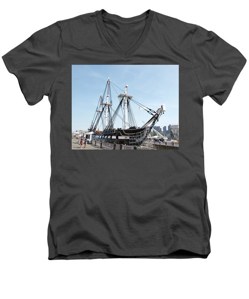 Uss Constitution Dry Dock Men's V-Neck T-Shirt by Caroline Stella