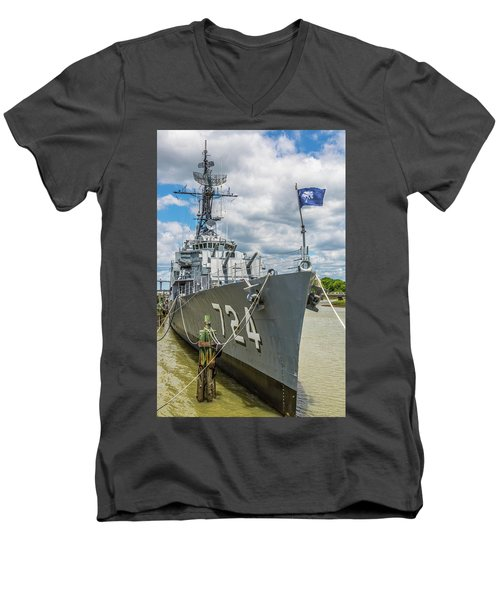 Men's V-Neck T-Shirt featuring the photograph Uss Laffey Dd-724 by Donnie Whitaker