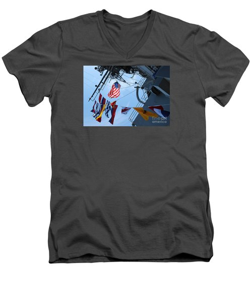 Uss Midway Flag Men's V-Neck T-Shirt by Cheryl Del Toro