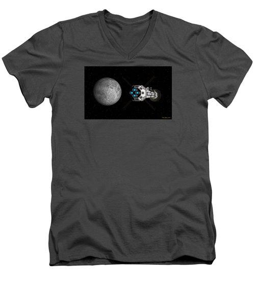 Uss Savannah Passing Earth's Moon Men's V-Neck T-Shirt