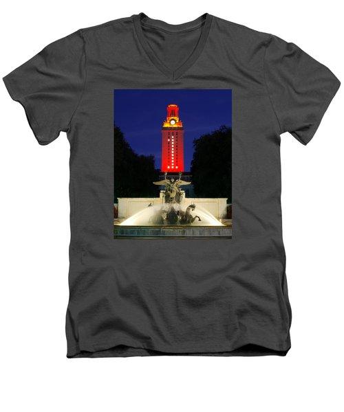 Men's V-Neck T-Shirt featuring the photograph Ut Austin Tower Orange by Lisa  Spencer