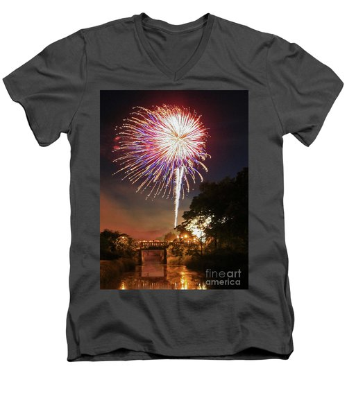 Men's V-Neck T-Shirt featuring the photograph Utica Fireworks by Paula Guttilla