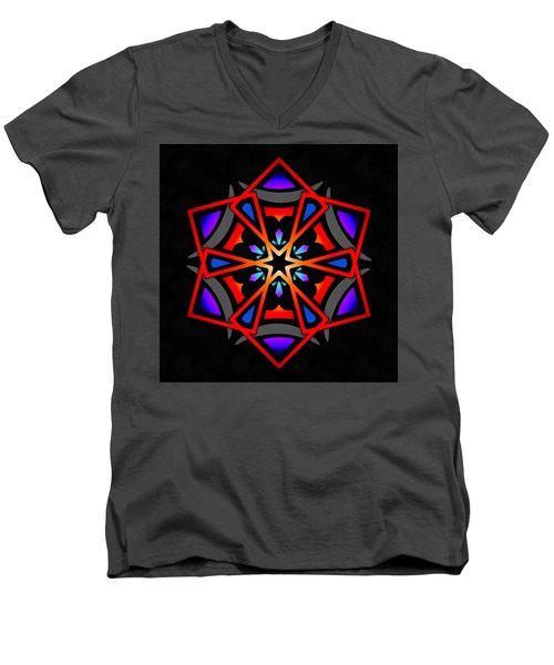 Men's V-Neck T-Shirt featuring the digital art Utron Star by Derek Gedney