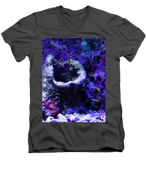 Men's V-Neck T-Shirt featuring the digital art Uw Coral Stone by Francesca Mackenney