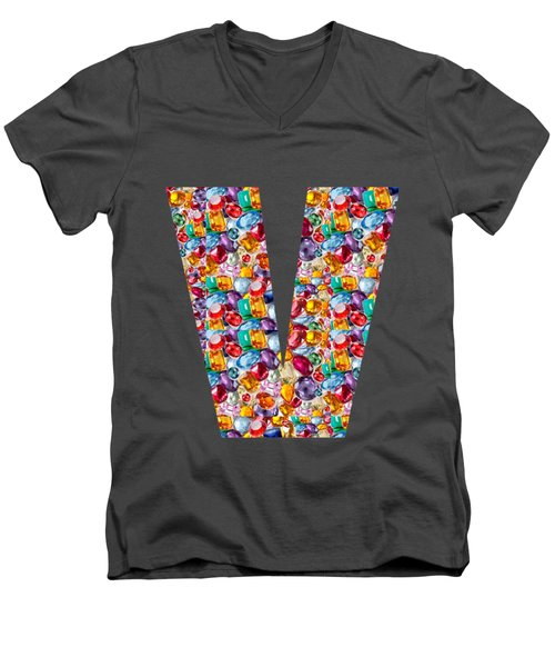 V Vv Vvv Jewels Alpha Art On Shirts Alphabets Initials   Shirts Jersey T-shirts V-neck   Navinjoshi  Men's V-Neck T-Shirt