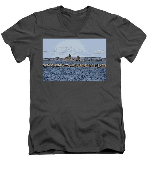 Vaennern Lake Men's V-Neck T-Shirt by Thomas M Pikolin