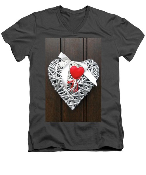 Men's V-Neck T-Shirt featuring the photograph Valentine Heart by Juergen Weiss