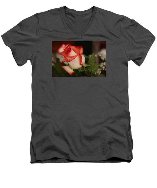 Valentine Rose Men's V-Neck T-Shirt by Yvonne Wright