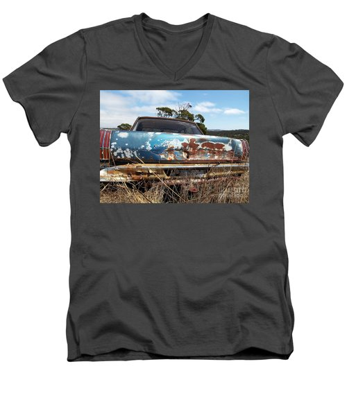 Men's V-Neck T-Shirt featuring the photograph Valiant View by Stephen Mitchell