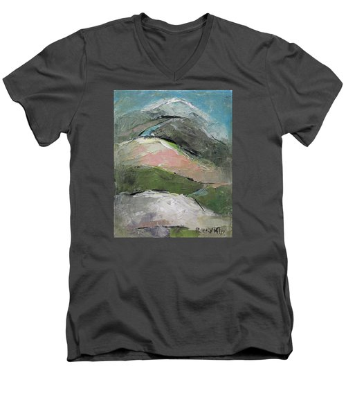 Men's V-Neck T-Shirt featuring the painting Valley by Becky Kim