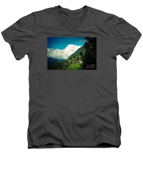 Valley Himalayas Mountain Nepal Men's V-Neck T-Shirt