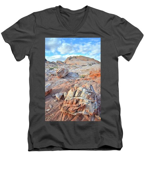 Valley Of Fire Boulders Men's V-Neck T-Shirt by Ray Mathis