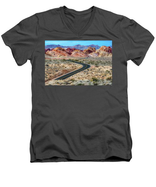 Road Through The Valley Of Fire Men's V-Neck T-Shirt