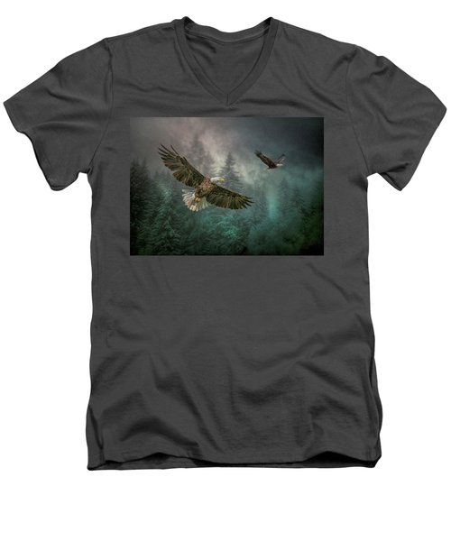 Valley Of The Eagles. Men's V-Neck T-Shirt by Brian Tarr