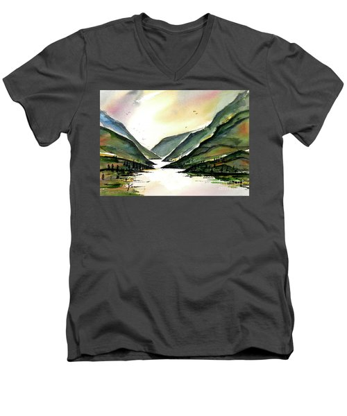 Men's V-Neck T-Shirt featuring the painting Valley Of Water by Terry Banderas